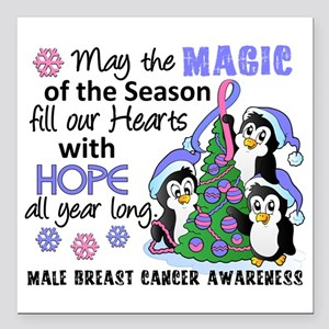 Holiday Penguins Male Breast Cancer Square Car Mag
