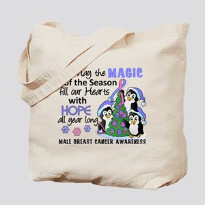 Holiday Penguins Male Breast Cancer Tote Bag