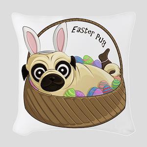 Easter Pug Woven Throw Pillow
