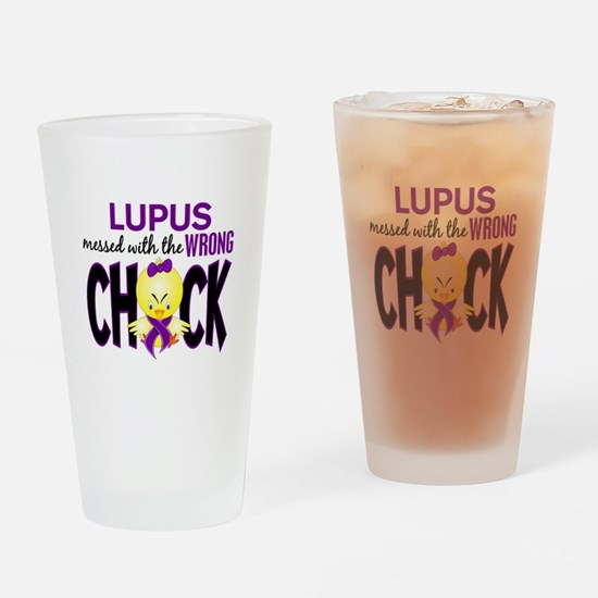 Lupus MessedWithWrongChick1 Drinking Glass
