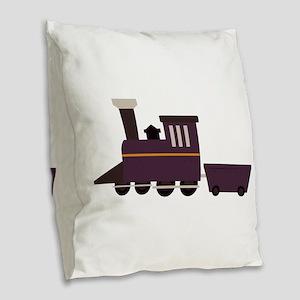 Train Engine Burlap Throw Pillow