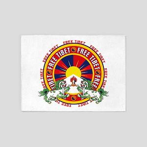 Free Tibet Snow Lions 5'x7'Area Rug