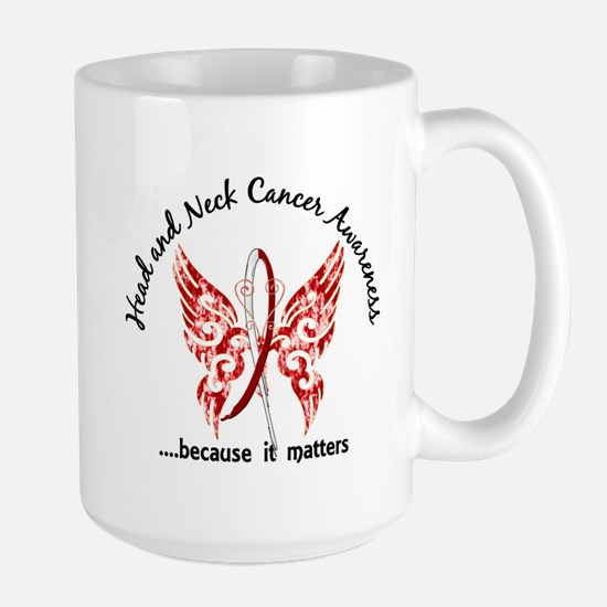 Head Neck Cancer Butterfly 6.1 Large Mug
