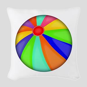 Colorful Beach Ball Woven Throw Pillow