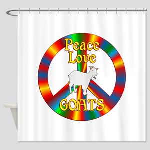 Peace Love Goats Shower Curtain