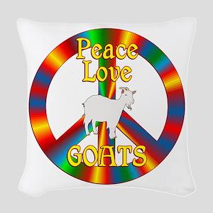 Peace Love Goats Woven Throw Pillow