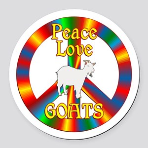 Peace Love Goats Round Car Magnet