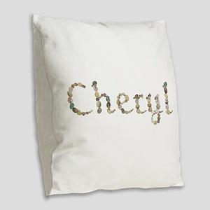 Cheryl Seashells Burlap Throw Pillow