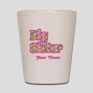 Big Sister Pink Splat - Personalized Shot Glass