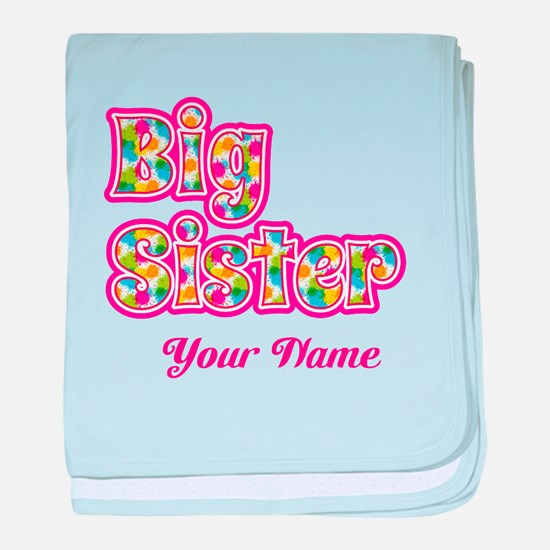 Big Sister Pink Splat - Personalized baby blanket