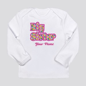 Big Sister Pink Splat - Personalized Long Sleeve T