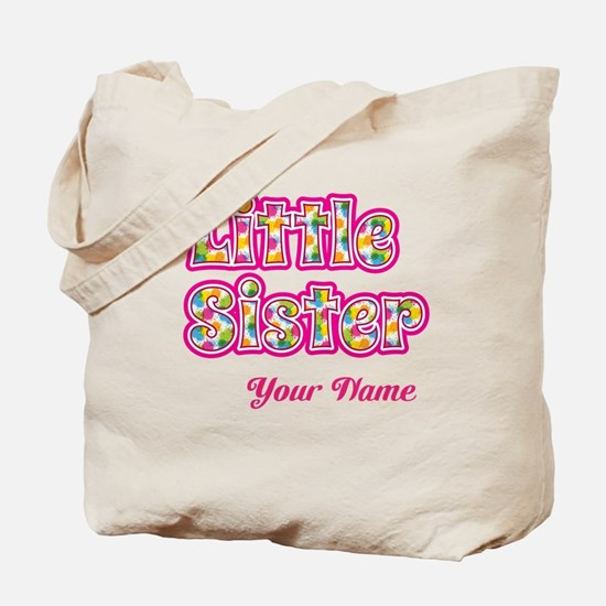 Little Sister Pink Splat - Personalized Tote Bag