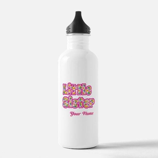 Little Sister Pink Splat - Personalized Water Bott