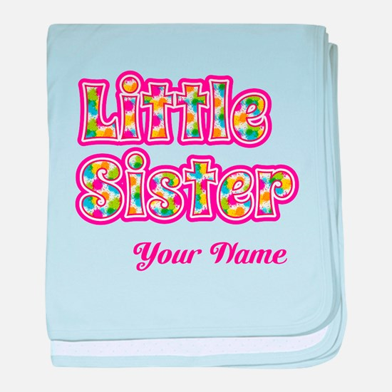 Little Sister Pink Splat - Personalized baby blank