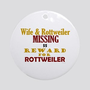 Wife & Rottweiler Missing Ornament (Round)