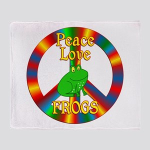 Peace Love Frogs Throw Blanket