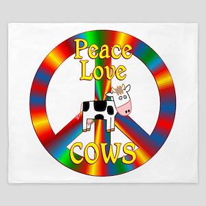 Peace Love Cows King Duvet