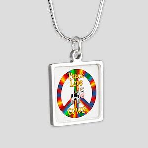 Peace Love Cows Silver Square Necklace