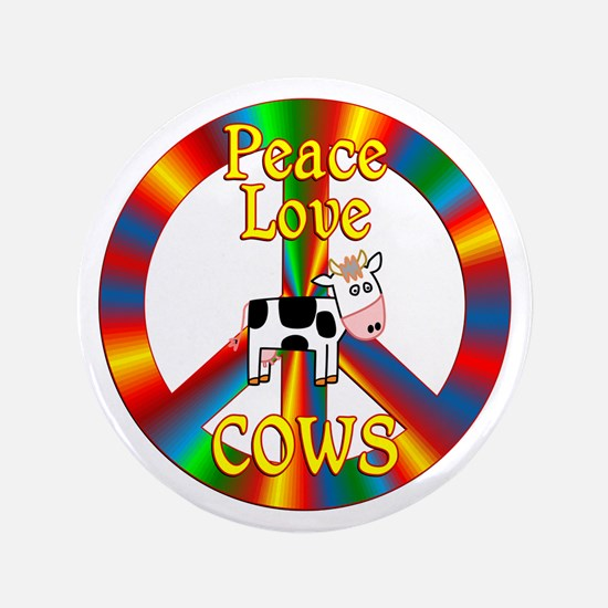 """Peace Love Cows 3.5"""" Button (100 pack)"""