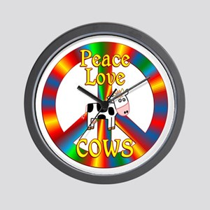 Peace Love Cows Wall Clock