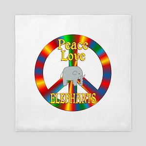 Peace Love Elephants Queen Duvet