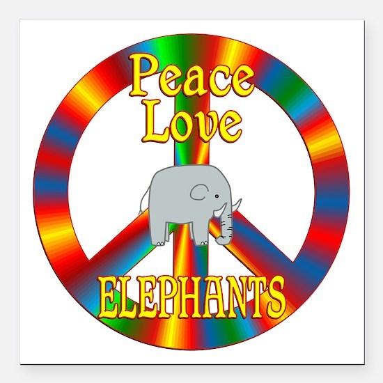 "Peace Love Elephants Square Car Magnet 3"" x 3"""