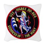 USS HIGBEE Woven Throw Pillow