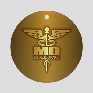 Gold Caduceus MD Ornament (Round)