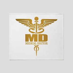 Gold Caduceus MD Throw Blanket