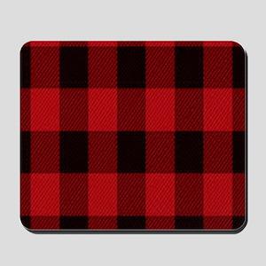 red black plaid Mousepad
