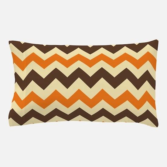 Chevron Retro Orange Brown Pillow Case