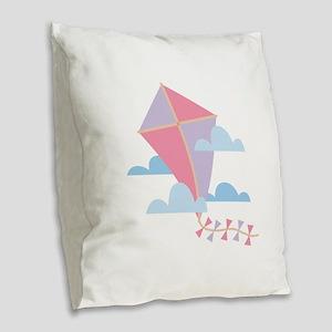 Kite in Clouds Burlap Throw Pillow