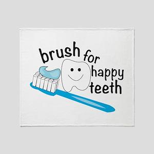Happy Teeth Throw Blanket