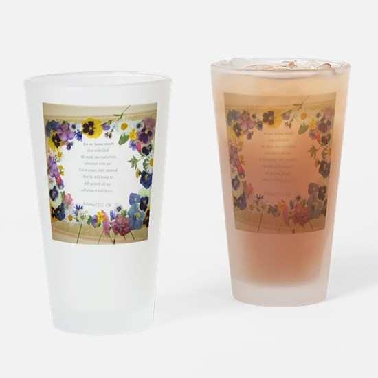 Pressed Flowers Drinking Glass