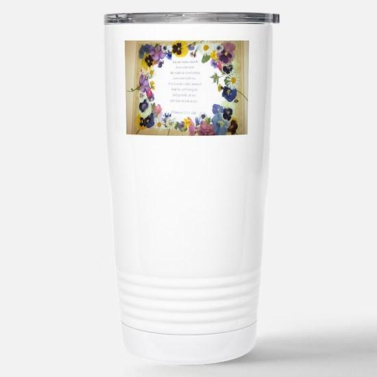 Pressed Flowers Stainless Steel Travel Mug