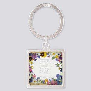 Pressed Flowers Square Keychain