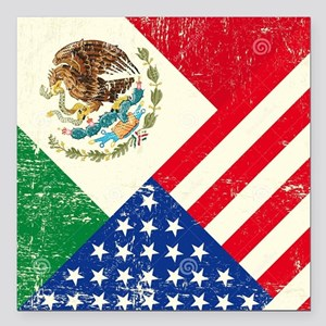 """Two Flags, One Race Square Car Magnet 3"""" x 3"""""""