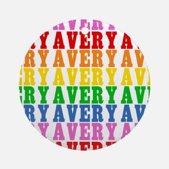 Rainbow Name Pattern Ornament (Round)
