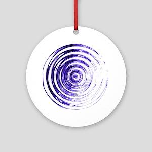 Blue Bullseye Round Ornament