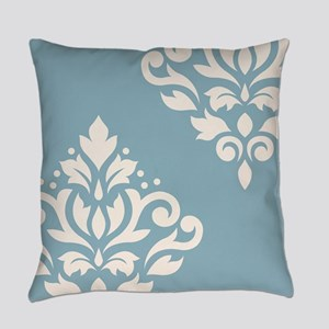 Scroll Damask Art I Cream on Blue Everyday Pillow