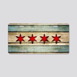 Vintage Chicago Flag Distre Aluminum License Plate