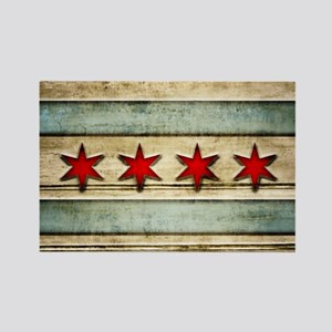 Vintage Chicago Flag Distressed W Rectangle Magnet