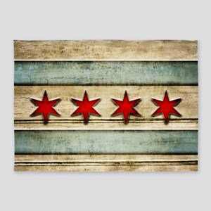 Vintage Chicago Flag Distressed Woo 5'x7'Area Rug