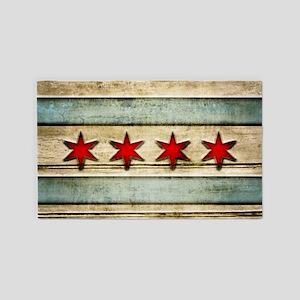 Vintage Chicago Flag Distressed Wood Area Rug