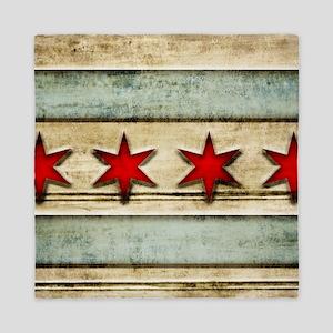 Vintage Chicago Flag Distressed Wood Queen Duvet