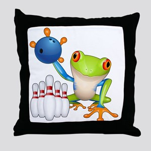 Bowling Frog Throw Pillow