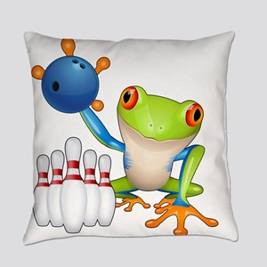 Bowling Frog Everyday Pillow