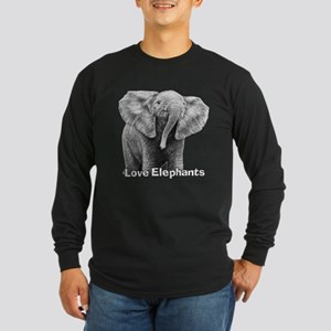 Love Elephants! Long Sleeve Dark T-Shirt