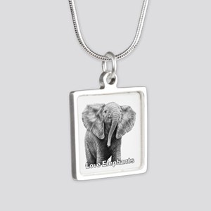 Love Elephants! Silver Square Necklace