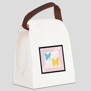 Framed Butterflies Canvas Lunch Bag